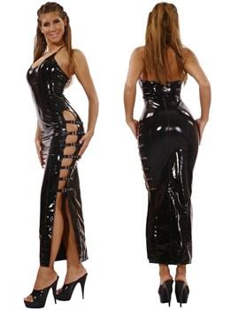 Длинное черное платье из винила с вырезами по бокам (Ledapol 1530)