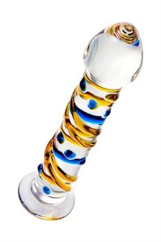 Стеклянный фаллос на подставке с цветными спиралями - 17,5 см.