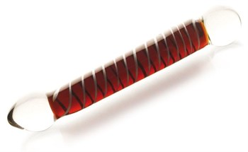 Двусторонний стеклянный фаллос  с гладкими головками - 20 см.
