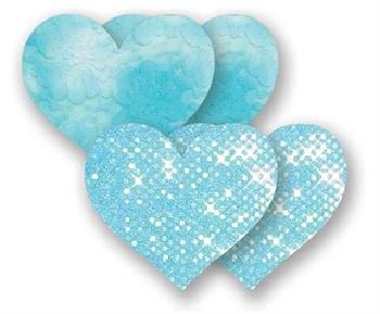 Комплект из 1 пары голубых пэстис-сердечек с блестками и 1 пары голубых пэстис-сердечек с кружевной поверхностью
