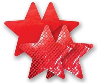 Комплект из 1 пары красных пэстис-звездочек с блестками и 1 пары красных пэстис-звездочек с гладкой поверхностью