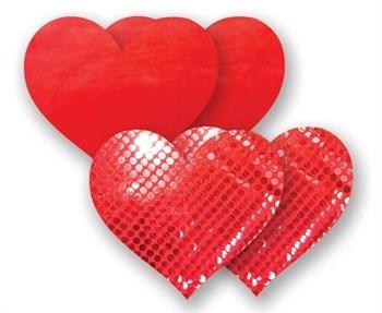 Комплект из 1 пары красных пэстис-сердечек с блестками и 1 пары красных пэстис-сердечек с гладкой поверхностью
