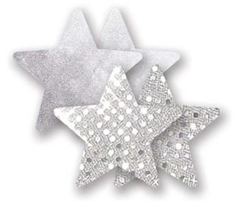 Комплект из 1 пары серебристых пэстис-звездочек с блестками и 1 пары серебристых пэстис-звёздочек с гладкой поверхностью
