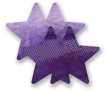 Комплект из 1 пары фиолетовых пар пэстис-звездочек с блестками и 1 пары сиреневых пэстис-звездочек с гладкой поверхностью