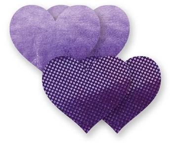 Комплект из 1 пары фиолетовых пэстис-сердечек с блестками и 1 пары сиреневых пэстис-сердечек с гладкой поверхностью