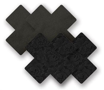 Комплект из 1 пары черных кружевных пэстис-крестиков и 1 пары черных пэстис-крестиков с гладкой поверхностью