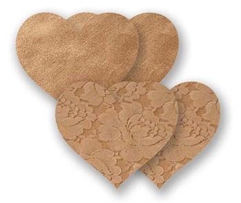 Комплект из1 пары бежевых гладких пэстис-сердечек и 1 пары бежевых кружевных пэстис-сердечек