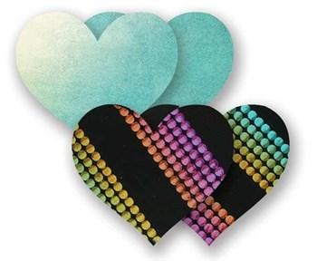 Комплект из 1 пары голубых пэстис-сердечек и 1 пары неоновых пэстис в полоску