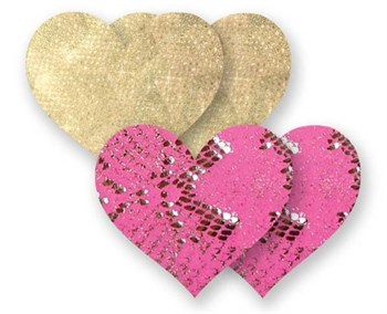 Комплект из 1 пары золотистых пэстис-сердечек и 1 пары розовых пэстис со змеиным принтом