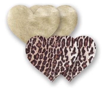 Комплект из 1 пары пэстис-сердечек с леопардовым принтом и 1 пары золотистых пэстис-сердечек