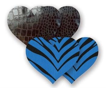 Комплект из 1 пары черных пэстис-сердечек под змеиную кожу и 1 пары синих пэстис-сердечек в полоску