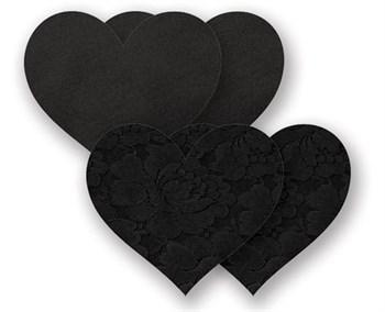 Комплект из 1 пары черных гладких пэстис-сердечек и 1 пары черных пэстис-сердечек с кружевной поверхностью
