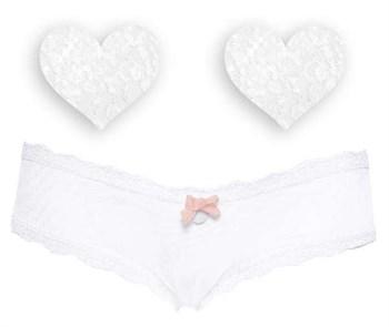 Комплект из 1 пары пэстис-сердечек и белых трусиков с бежевым бантиком