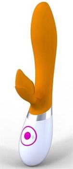 Оранжево-белый мультискоростной вибратор Rabbit