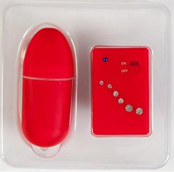 Красное виброяичко со стразами и пультом ДУ - 8 см.