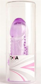 Фиолетовая гелевая насадка с шипами - 13 см.
