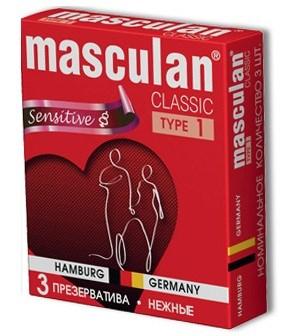 Розовые презервативы Masculan Classic Sensitive - 3 шт.