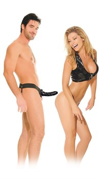 Полый страпон унисекс черного цвета For Him or Her Hollow Strap-On - 15 см.