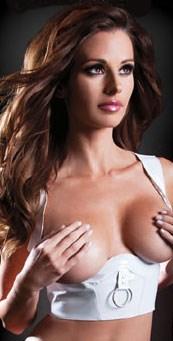 Белый корсет с открытой грудью