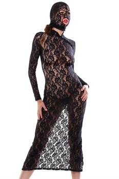 Черное ажурное платье с капюшоном-маской