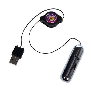 Серебристая вибропуля, работающая от  USB-порта