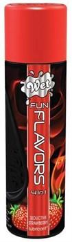 Разогревающий лубрикант Fun Flavors 4-in-1 Sexy Strawberry с ароматом клубники - 89 мл.