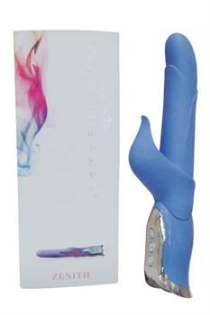 Голубой многорежимный вибратор с клиторальным стимулятором Zenith - 17,8 см.