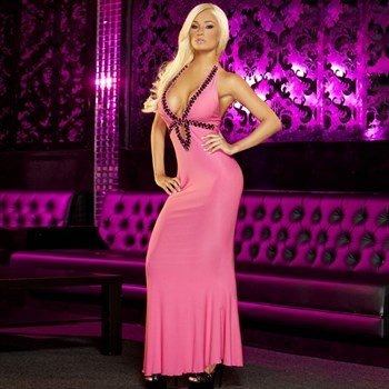 Вечернее розовое платье в пол от Hustler