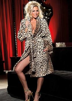 Плюшевый халатик с леопардовым принтом