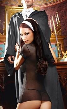 Игровой костюм очаровательной монашки: мини-платье и головной убор