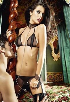 Игровой костюм рабыни: топ, мини-юбка, кружевные манжеты, воротничок с цепью