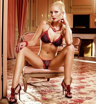 Красно-чёрный комплект белья Barbie с рюшами