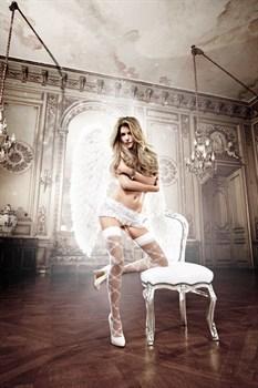 Белая кружевная юбочка с рюшами, шнуровкой и подвязками для чулок Back in Heaven