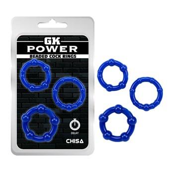 Набор из 3 синих стимулирующих колец Beaded Cock Rings