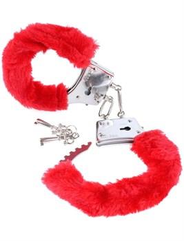 Наручники с красным мехом Beginners Furry Cuffs