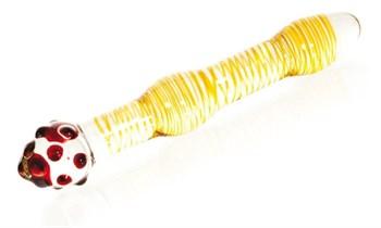 Двусторонний стимулятор из стекла с шишечками на головке - 20,5 см.