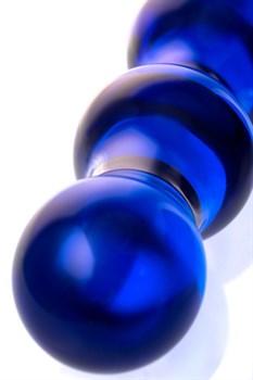 Синий стеклянный фаллоимитатор с наплывами - 21 см.