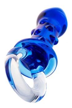 Синяя стеклянная анальная втулка с ручкой-кольцом - 16 см.