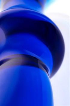 Синяя стеклянная анальная втулка - 13,5 см.