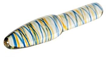 Стеклянный фаллоимитатор с разноцветными спиралями - 17 см.