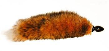 Большая анальная пробка черного цвета с тонированным лисьим хвостом
