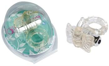 Прозрачное эрекционное кольцо с вибробабочкой