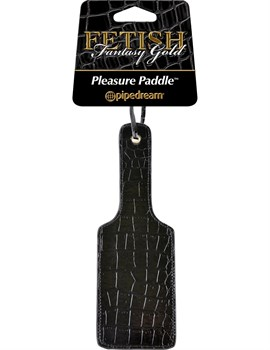 Чёрная с золотом шлепалка Gold Pleasure Paddle