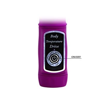 Лиловый вибратор с клиторальной стимуляцией Body Touch - 22,5 см.