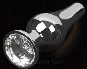 Серая анальная пробка с прозрачным кристаллом - 8,5 см.