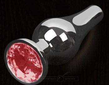 Серая анальная пробка с малиновым кристаллом - 8,5 см.