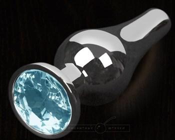 Серая анальная пробка с голубым кристаллом - 8,5 см.