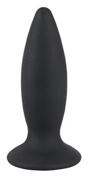 Чёрная перезаряжаемая анальная пробка Black Velvets Recharge Plug M - 12,5 см.