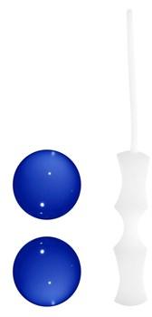 Синие стеклянные вагинальные шарики Ben Wa Medium в белой оболочке