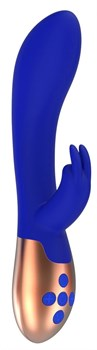 Синий вибратор Opulent с функцией нагрева и клиторальной стимуляцией - 20 см.